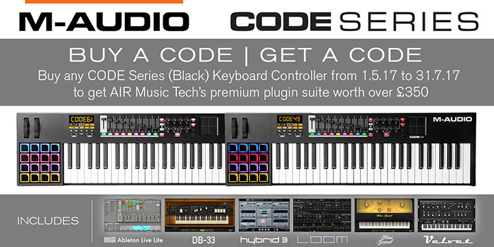 """M-Audio """"Buy A Code, Get A Code"""" Offer for 2017"""