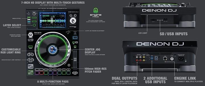 "Denon DJ SC5000 Prime Media Player with 7"" Multi-Touch Display"
