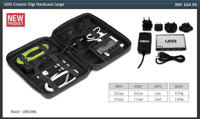 UDG Creator DIGI Hardcase Large Black (With 7-Port USB HUB and Power Adapter)