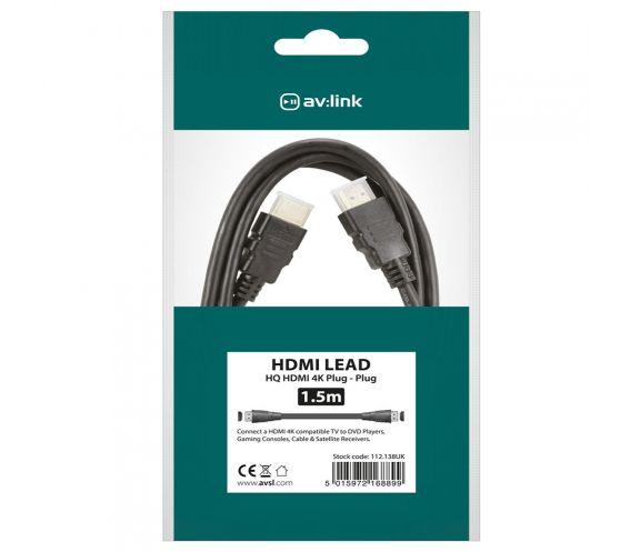 Av:Link HDMI Lead 4K Ready 1.5m Package
