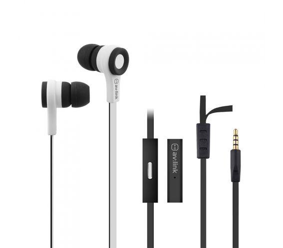Av:Link Rubberised Stereo Earphones with Hands-free