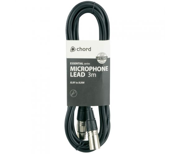 Chord Essential XLR Microphone Lead 3m Package