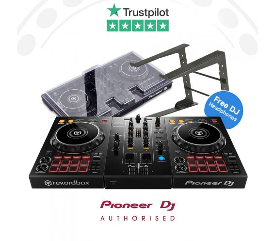 Pioneer DDJ-400, Decksaver Cover, Laptop Stand, and FREE Headphones Package Deal