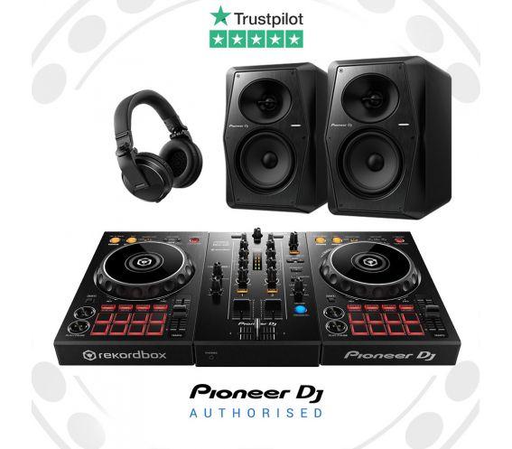 Pioneer DDJ-400 DJ Controller, HDJ-X5 Headphones, and VM-80 Speakers Complete DJ Equipment Package