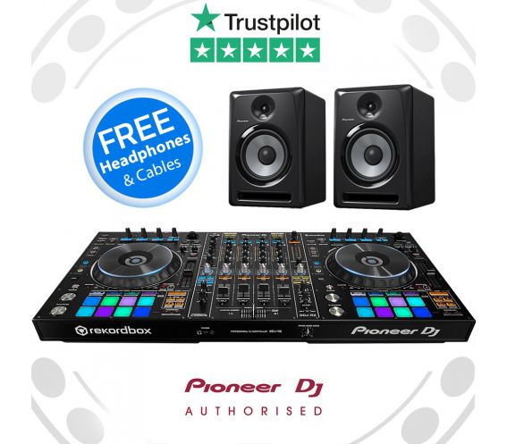 Pioneer DDJ-RZ, S-DJ60X Monitors + FREE DJ HEADPHONES and AUDIO CABLES