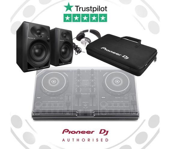 Pioneer DDJ-200, DM-40 Speakers, Decksaver, Carry Bag, and FREE Headphones Package Deal