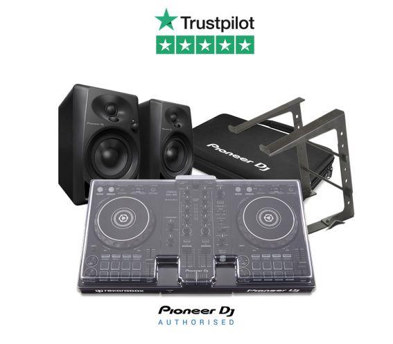 Pioneer DDJ-400, DM-40 Speakers, Decksaver, DJC-Bag, Laptop Stand, and FREE Headphones