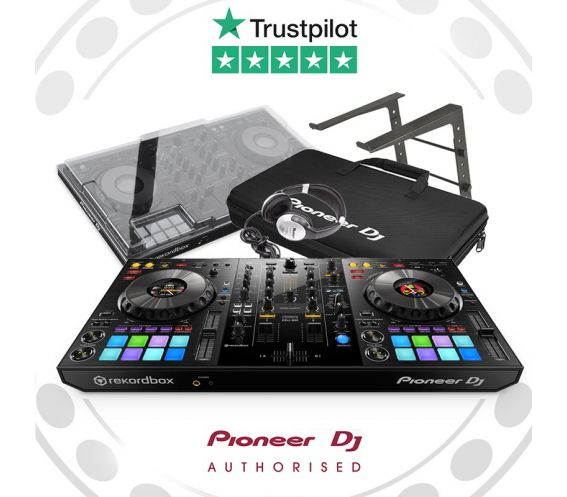 Pioneer DDJ-800, Decksaver, Laptop Stand, and Carry Bag w/FREE Headphones Package Deal