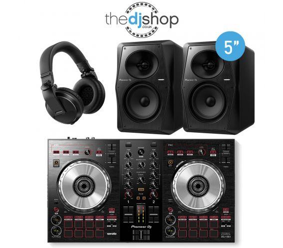 Pioneer DDJ-SB3 DJ Controller, VM-50 Speakers, HDJ-X5 Headphones