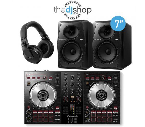 Pioneer DDJ-SB3 DJ Controller, VM-70 Speakers, HDJ-X5 Headphones