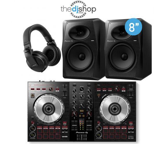 Pioneer DDJ-SB3 DJ Controller, VM-80 Speakers, HDJ-X5 Headphones