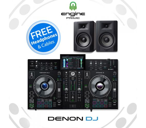 DENON DJ PRIME 2 + M-AUDIO BX5 D3 Speaker Bundle Deal