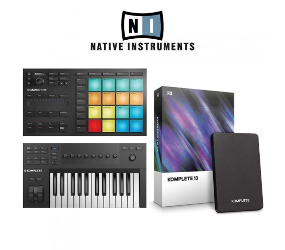 Native Instruments Mikro MK3, A25, and Komplete 12 Music Production Package