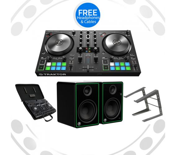 Native Instruments Traktor S2, CR4-X Speakers, Carry Bag, and Laptop Stand w/FREE Headphones