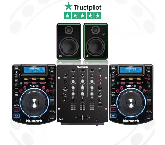 Numark NDX500, M4 and Mackie CR4-X Pro DJ Package