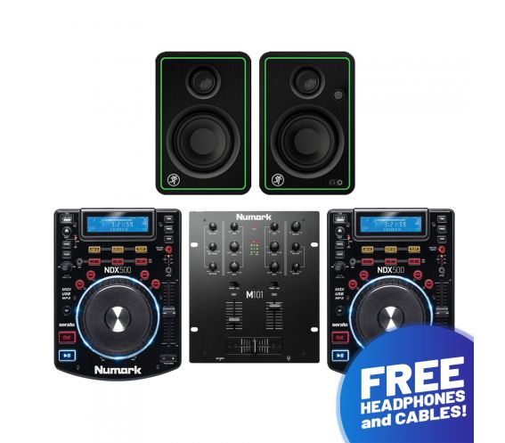 Numark NDX500, M101 and Mackie CR3-X Pro DJ Package