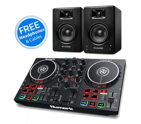 Numark Party Mix mk2 and M-Audio BX4 Speaker DJ Package