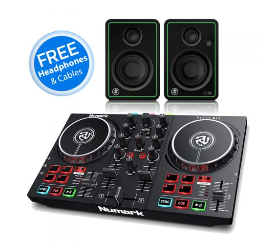 Numark Party Mix mk2 and Mackie CR3-X Speaker DJ Equipment Package