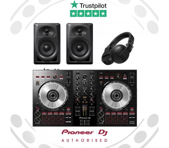 Pioneer DDJ-SB3, DM-40, and HDJ-X5 DJ Equipment Package
