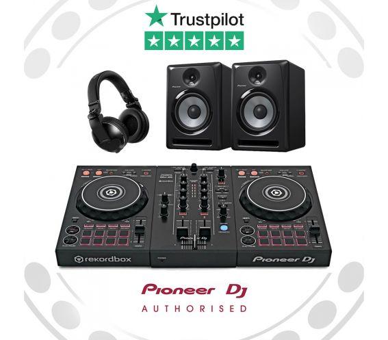 Pioneer DDJ-400 DJ Controller, HDJ-X5 Headphones, and S-DJ50X Speakers Complete DJ Equipment Package