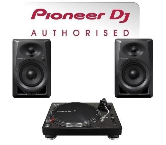 Pioneer Single PLX-500 Turntable and DM-40 Speaker Bundle