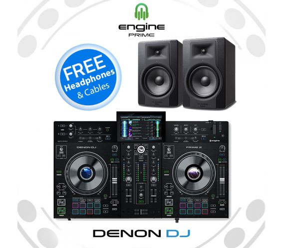 DENON DJ PRIME 2 + M-AUDIO BX8 D3 Speaker Bundle Deal