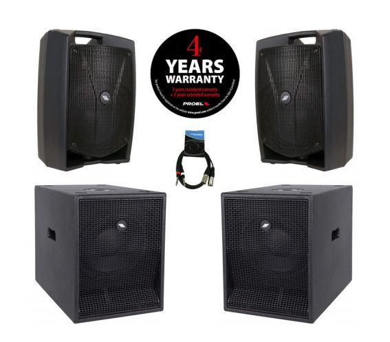 Proel V15 Plus PA Speaker Bundle