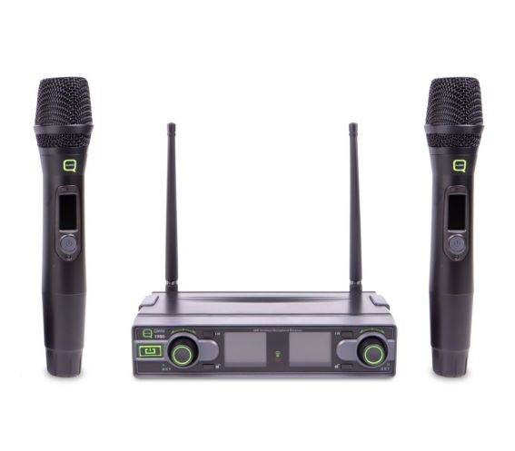Q-Audio QWM 1950 HH Dual Channel UHF Wireless Microphone System Front view