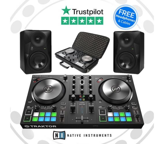 Native Instruments Traktor S2, MR524 Speakers, and Ctrl Bag w/FREE Headphones Package Deal