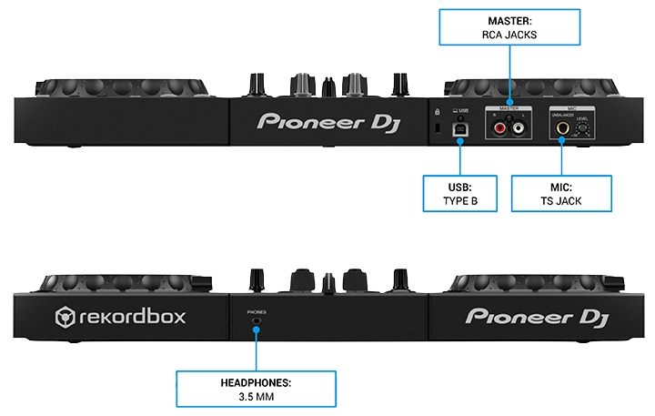 Pioneer DDJ-400 front and fear feature layout